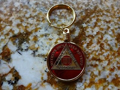 Gold Keyring Keychain Holder AA Alcoholics Anonymous Coin Medallion Tri-Plate
