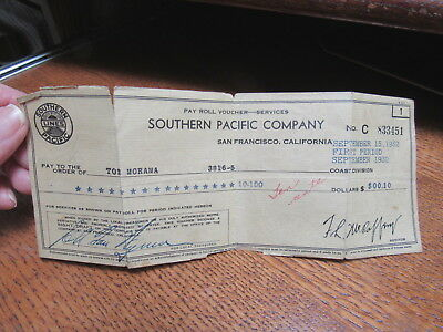 1932 Southern Pacific Railroad S.F. CA. Pay Roll Check for 10 Cents