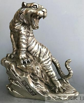 Chinese Delicate Collection copper Cupronickel handmade ferocious tiger statue