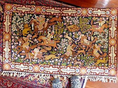 Antique Kashmirie Indian Wall Tapestry Wall Hanger Hunting Design 151 Cm X 97 Cm