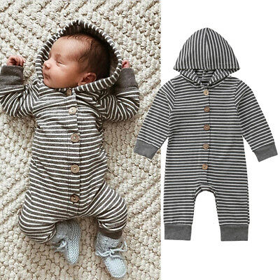 AU Seller Baby Infant Boys Girl Romper Hooded Jumpsuit Bodysuit Outfits Clothes