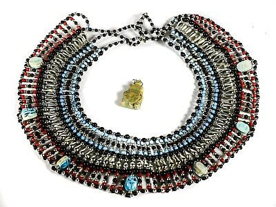 Vintage Egyptian Revival Scarab & Faience Bead Bib Collar Choker