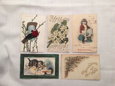 Five Vintage Birthday Postcards Four-Undivided One-Real Feathers C1907