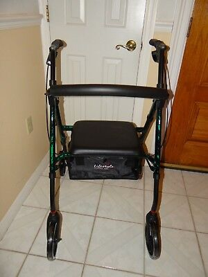 SLIGHTLY USED Lightweight Aluminum Rolling Foldable Walker With Wheels Soft Seat
