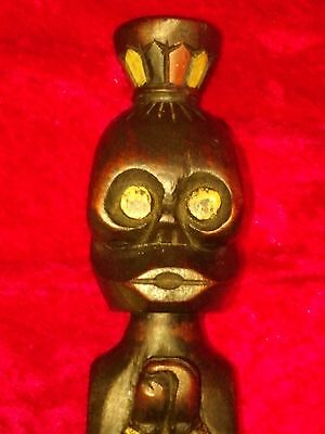 """Antique West African Tribal Carved Wood Figurine Tribe """"the Prayer"""" 14 """" Tall."""