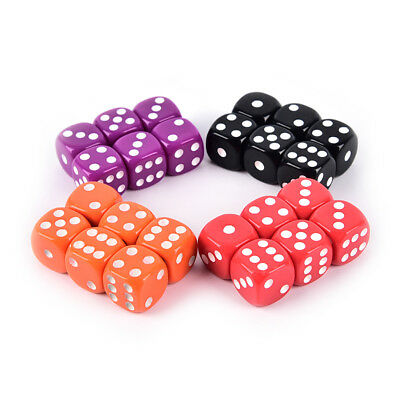 6Pcs Six Sided 16mm acrylic rounded fine dice for Playing Game 4 colors JDUK