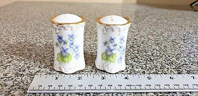 Hand Painted  Salt/pepper Shakers Rosenthal Classic Rose Artist Signed 2 1/4'' T