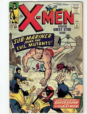 X-Men #6 (Jul 1964) app Sub-Mariner. rarer issue. Complete original- No Reserve!