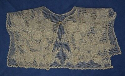 Vintage OFF WHITE LACE EMBROIDERY FULL COLLAR FLOWERS BEIGE GORGEOUS 1980s