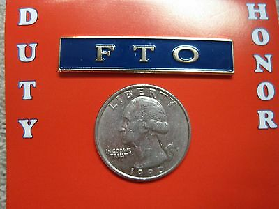 Fto Field Training Officer Metal Pin Silver / Blue Police Sheriff Enameled Look*