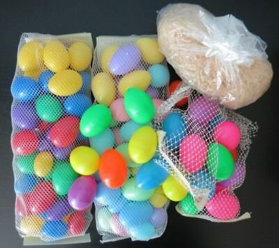 100 Assorted Color and Size Vintage Plastic Easter Eggs & Straw Grass Filler