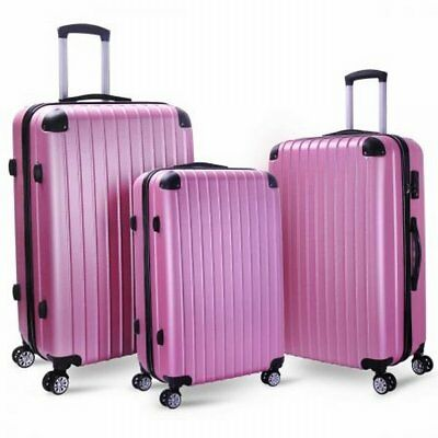 NEW 3 pcs Lightweight ABS Material Milano Slim Line Luggage Case Set - Rose Gold