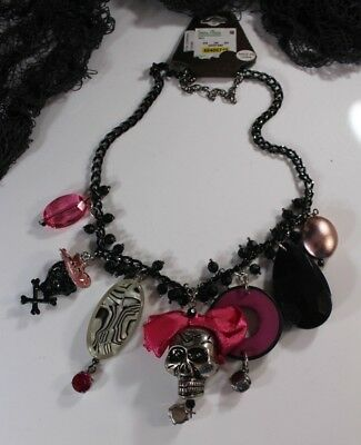 HALLOWEEN GOTH Skull Bikers Necklace signed Zevar TRESKA Pink Black Rhinestones