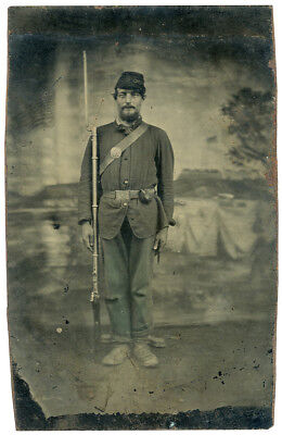 Classic Handsome Musket Armed Civil War Soldier Tintype w/Radiant Depth of Field