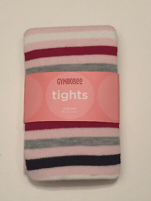 NWT Gymboree School Girls Rock PINK/RED/NAVY/GRAY striped tights sz. 3-4 3t/4t