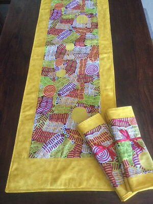 Table Runner with quilted top and aboriginal fabric panel.