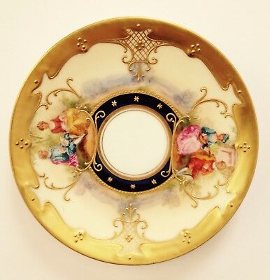 HTF Antique Dresden Hand Painted Gilded Chocolate Cup & Saucer