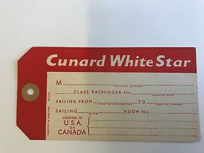 Cunard White Star  Baggage Tag 3 by 5.5