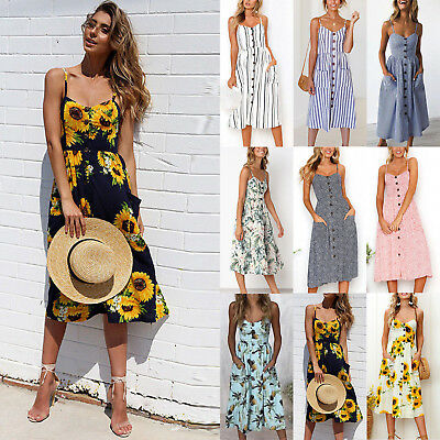 Womens Summer Floral Printed Pockets Casual Beach Lady Party Sundress Midi Dress