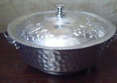Vintage Nasco Italy Hammered Aluminum Bowl with Lid