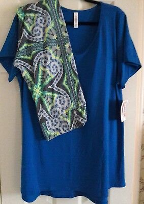 Lularoe Solid Royal Blue 2X Classic Tee and TC Digital Abstract Leggings