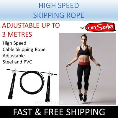 Skipping Rope High Speed Adjustable Length to 3 Metres Fitness Exercise Sport Ro
