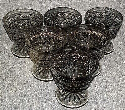 RARE BLACK TINTED CRYSTAL GLASSES x 6. COMPOTE GLASSES, FOOTED DESSERT BOWLS.