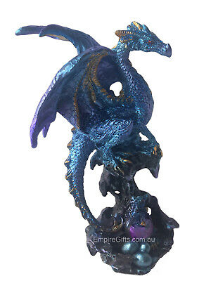 1 x Mother Dragon with Baby Dragon Statue Blue (A)