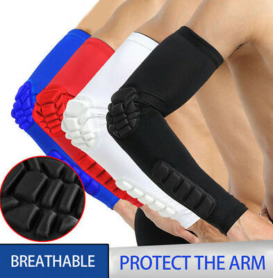 Unisex Protection Elbow Arm Compression Sleeve Pad Hex Elastic Power Football US