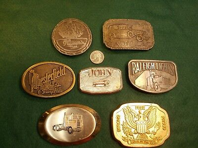 Lot Of 6 Vtg Mens Belt Buckles, Chesterfield Cigarettes, Hamm's Beer, Cadillac++