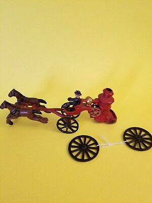 Antique Vintage Fire Fighter Cast Iron  Horse Drawn Carriage Buggy Wagon Rare