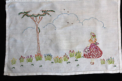 Vintage white linen hand embroidered flowers, tree and lady tray cloth.