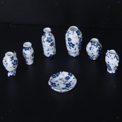 1/12 Dollhouse Ceramic Miniatures China Porcelain Vase Blue Vine 7 PCS Set