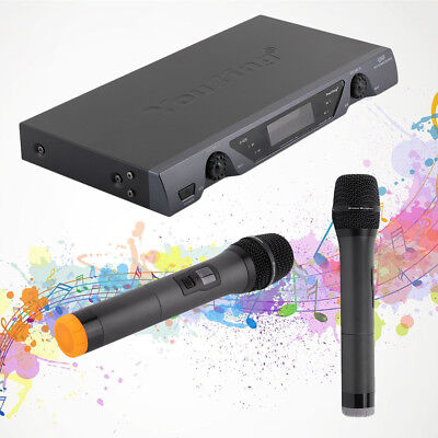 U828 VHF Wireless 2 Channel Dual Handheld Microphone Mic System Kits KTV Party