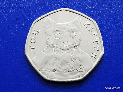 50p Tom Kitten  Beatrix Potter  Rare Coin Hunt Coin Coloured Decal 2017