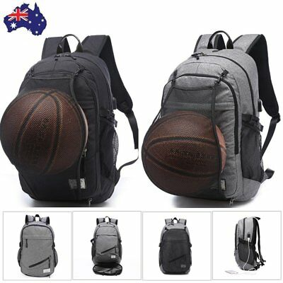 Casual Sports Bag Basketball School Backpack Shoulder Bag With USB Charging Port