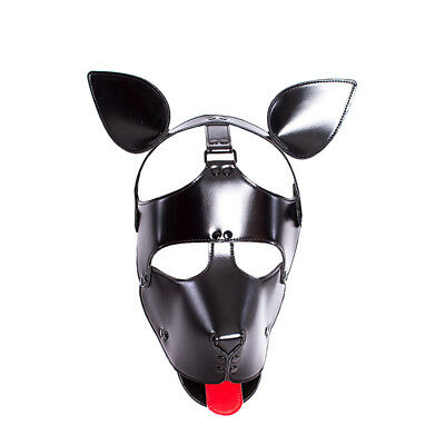 PU Leather Hood Head Mask Headgear Dog Bondage Slave