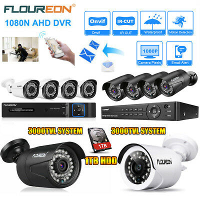 FLOUREON 8CH HDMI 1080N DVR CCTV 3000TVL Outdoor Home Security Scale System 1TB