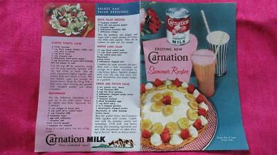 1960's Circa Carnation Milk Summer Recipes Brochure Seven Pages.