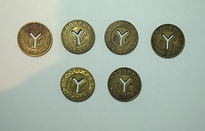 6 New York City NYC Transit Authority - Y Cut Subway Tokens Dime Size