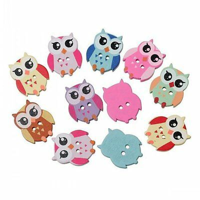 50 PCS Mixed Colors Lovely Owl Shape Two Buttons For DIY Sewing Buttons D1I7