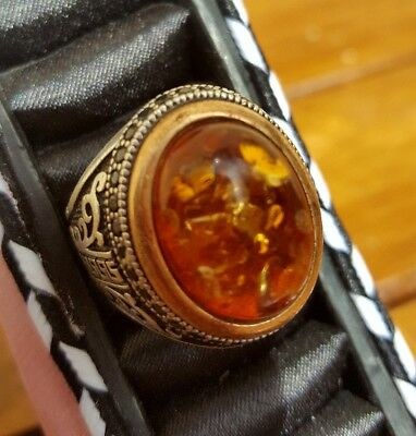 Turkish Handmade 925 Sterling Silver Amber Men's Ring Size O