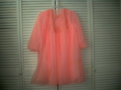 Vintage Peignoir Nightgown Set Van Raalte Sz.L  Pink  NEW