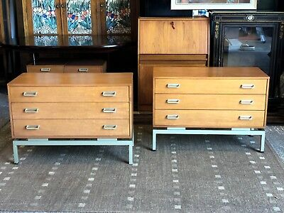 Rare Pair 1960s G Plan Limba Range Chest Of Drawers Mid Century Vintage