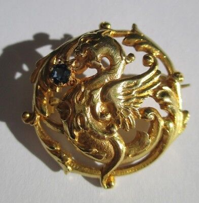 Exceptionnelle broche ancienne chimère - Saphir - Or massif 18 carats 750 9,5g