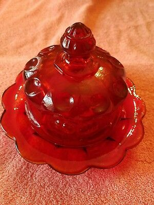 Mosser Glass,Ruby Red Butter/Cheese Dish, Old Northwood Cherry & Cable Pattern