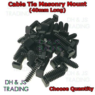 CABLE TIE TIES MASONRY MOUNT KNOCK IN WALL MOUNT PLUG BASE FOR MASONRY FIXINGS