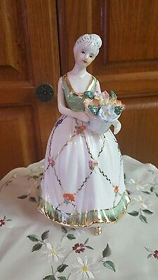 KPM Porcelain Figurine: Young Girl in White & green Gold w Flowers Marked Rare