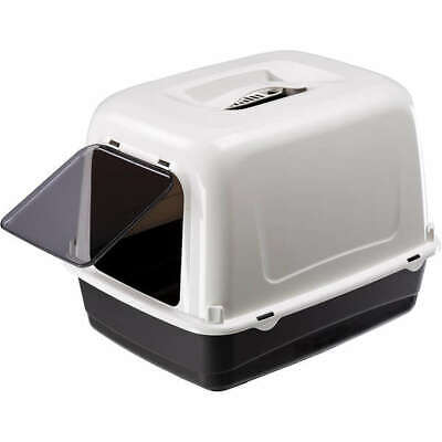 Heritage White & Black Sumo Cat Toilet  Loo Hooded Litter Tray Cats Pan Filter