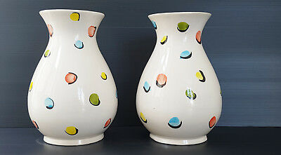 Pair Of Vases Spotted Ceramic 1950 Vintage Years 50 Rockabilly Zazou 50S 50'S